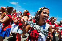 A chocalho player of the Empolga as 9 band performs during the carnival street party in Flamengo, Rio de Janeiro, Brazil, 21 February 2012. Most of the carnival street parties in Rio are organized and run by Blocos. Each Bloco consists of a musical band and a group of partygoers. The Blocos, closely linked to the neighborhoods they come from, start their free-to-join parades early in January and continue throughout the carnival season. Playing usually their own samba song, backed up with a numerous bateria (drum and percussion players), Blocos are considered the beating heart of the Rio Carnival.