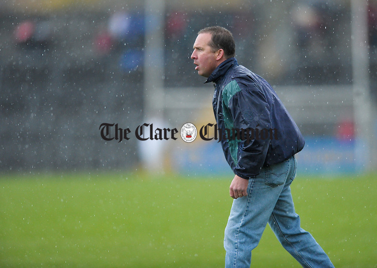 Newmarket manager Bob Enright on the sideline during the senior county hurling final at Cusack Park. Photograph by John Kelly.