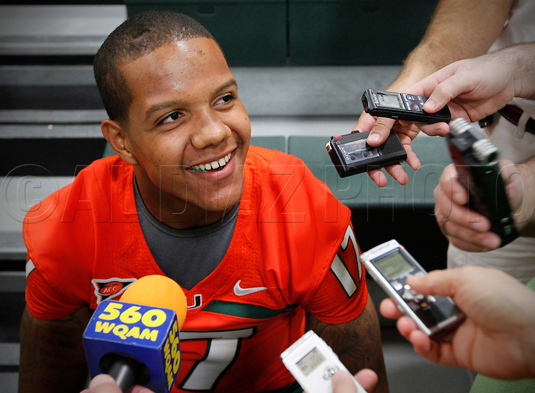 Quarterback Stephen Morris is interviewed during Media Day for the University of Miami Football team on Campus in Coral Gables on August 27, 2011.