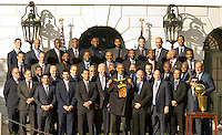 Washington DC, November 10, 2016, USA: President Barack Obama welcomes the 2015 NBA Champions Cleveland Cavaliers on the South Lawn of the White House. Obama is given a Cleveland Cavalier jersey from the team.  Patsy Lynch/MediaPunch