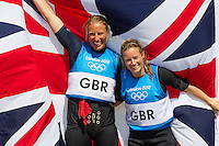 ENGLAND, Weymouth. 10th August 2012. Olympic Games. Women's 470 class. Medal Race. Hannah Mills (GBR) Skipper (right) and Saskia Clark (GBR) Crew, Silver Medalists.
