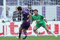 FLORENCE, Italy: October 20, 2013: AC Fiorentina beats FC Juventus 4-2 during the Serie A match played in the Artemio Franchi Stadium. Giuseppe Rossi scoring the goal of 3-2