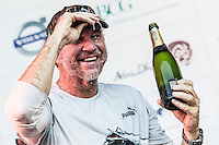 BRAZIL, Itajai. 6th April 2012. Volvo Ocean Race. Ken Read, Skipper of Puma Ocean Racing powered by BERG celebrates the teams Leg 5 victory.