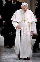 Pope Benedict XVI  during an audience with Rome's parish priests in aula Paolo VI at the vatican. on February 14, 2013