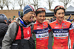Photographer Yuzuru Sunada with Nippo-Vini Fantini riders Yuma Koishi and Kohei Uchima (JPN) at sign on before the start of the 2017 Strade Bianche running 175km from Siena to Siena, Tuscany, Italy 4th March 2017.<br /> Picture: Eoin Clarke | Newsfile<br /> <br /> <br /> All photos usage must carry mandatory copyright credit (&copy; Newsfile | Eoin Clarke)