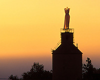 Sally Hemmings dress flowing over coal tower.