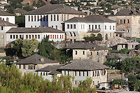 Traditional Ottoman houses in Gjirokastra, Southern Albania, in the historical region of Epirus, with most Ottoman houses dating from the 17th and 18th centuries. Typical houses consist of a tall stone block structure up to 5 storeys, with external and internal staircases surrounding the house. Gjirokastra was settled by the Greek Chaonians, the Romans and Byzantines before becoming an Ottoman city in 1417. Its old town was listed as a UNESCO World Heritage Site in 2005. Picture by Manuel Cohen