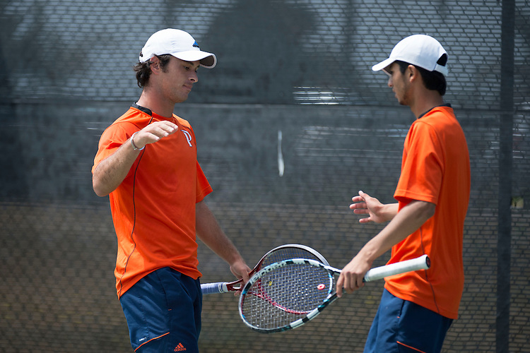 April 27, 2013; San Diego, CA, USA; Pepperdine Waves players Mousheg Hovhannisyan (left) and David Sofaer (right) during the WCC Tennis Championships at Barnes Tennis Center.
