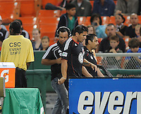 DC United forward Jaime Moreno (99) exits the field after receiving a red card.   San Jose Earthquakes defeated DC United 2-0 at RFK Stadium, October 9, 2010.