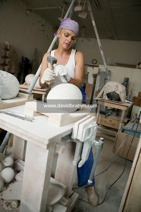 12 May 2006 - New York City, NY - Artist Cecilia Rodhe works in her studio in New York City, USA, 12 May 2006. Former model, Rodhe is the mother of high school basketball sensation Joakim Noah and the ex-wife of retired French tennis player Yannick Noah.