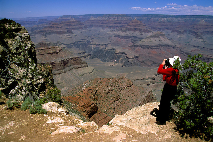 AZ, Grand Canyon National Park, Arizona, woman, model released, at the South Rim.Photo Copyright: Lee Foster, lee@fostertravel.com, www.fostertravel.com, (510) 549-2202.azgran232