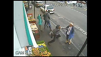BNPS.co.uk (01202 558833)<br /> Pic: DP/BNPS<br /> <br /> ***Please use full byline***<br /> <br /> This is the shocking moment a man was killed by a thug with just a single punch to the head following a row with a cyclist.<br /> <br /> Andrew Young, 40, became embroiled in an argument with Victor Ibitoye after he blasted him for riding his bike on the pavement.<br /> <br /> Just seconds after the altercation Mr Young was approached by Mr Ibitoye's friend, Lewis Gill, who launched a horrific attack on the Asperger's Syndrome sufferer.<br /> <br /> Shocking CCTV footage shows Gill, aged 20, throw a punch at Mr Young that was so forceful he was flung off the pavement and onto the road, striking his head.<br /> <br /> The callous thug is then seen walking away from the man as he lay lifeless on the ground.<br /> <br /> He was rushed from the scene in Bournemouth, Dorset, to Southampton General Hospital in Hampshire where he died the next day.<br /> <br /> A post mortem found no injuries to suggest that the vulnerable victim had tried to defend himself.<br /> <br /> Gill pleaded guilty to one count of manslaughter at Salisbury Crown Court and was jailed for four years and six months.