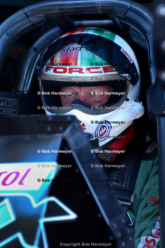 COLUMBUS, OH - MAY 22: John Force waits to drive his Funny Car during the Pontiac Performance NHRA Nationals on May 22, 2005, at National Trail Raceway near Columbus, Ohio.