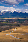 Winding gravel road through the National Bison Range in western Montana