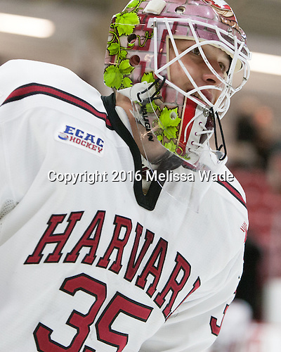 Michael Lackey (Harvard - 35) - The Harvard University Crimson defeated the visiting Rensselaer Polytechnic Institute Engineers 5-2 in game 1 of their ECAC quarterfinal series on Friday, March 11, 2016, at Bright-Landry Hockey Center in Boston, Massachusetts.