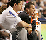 UK head coach John Calipari corrects his players during the second period of the Blue and White scrimmage at Rupp Arena Wednesday night..Photo by Zach Brake | Staff