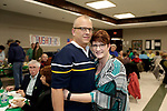 Waterbury, CT- 09 March 2017-030917CM01- SOCIAL MOMENTS From left, Michael-Scott Druckenmiller and Maureen Nolan both of Waterbury are photographed during a Survivor Social event for Relay for Life at Holy Cross High School in Waterbury on Thursday.   Christopher Massa Republican-American
