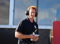 Feb 26, 2017; Chandler, AZ, USA; Fox Sports reporter Bruno Massel during the NHRA Arizona Nationals at Wild Horse Pass Motorsports Park. Mandatory Credit: Mark J. Rebilas-USA TODAY Sports