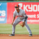 31 July 2016: Connecticut Tigers infielder Junnell Ledezma in action against the Vermont Lake Monsters at Centennial Field in Burlington, Vermont. The Lake Monsters edged out the Tigers 4-3 in NY Penn League action.  Mandatory Credit: Ed Wolfstein Photo *** RAW (NEF) Image File Available ***