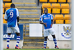 St Johnstone v St Mirren....06.10.12      SPL.Nigel Hasselbaink celebrates his goal with Gregory Tade.Picture by Graeme Hart..Copyright Perthshire Picture Agency.Tel: 01738 623350  Mobile: 07990 594431
