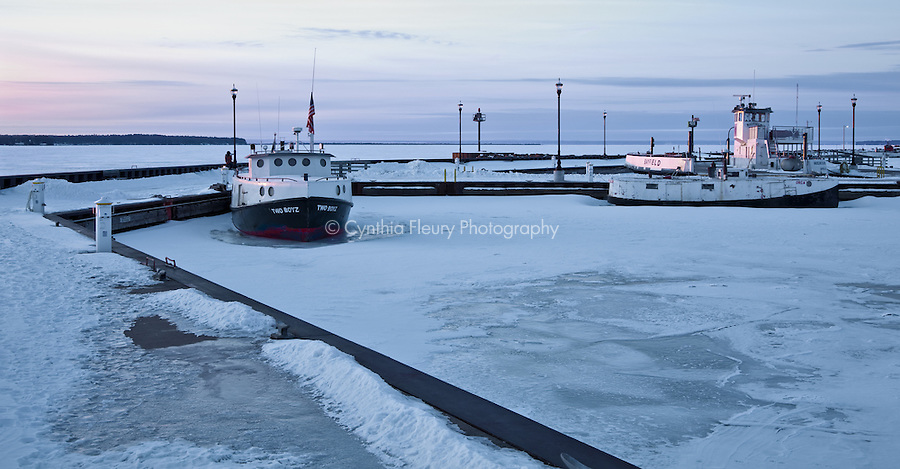 Cool Blue Light In Winter Harbor Bayfield Frozen Boats In