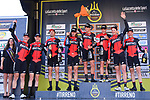 BMC Racing Team on the podium after winning the 1st stage of the race of the two seas, 52nd Tirreno-Adriatico by NamedSport a 22.7km Team Time Trial around Lido di Camaiore, Italy. 8th March 2017.<br /> Picture: La Presse/Gian Mattia D'Alberto | Cyclefile<br /> <br /> <br /> All photos usage must carry mandatory copyright credit (&copy; Cyclefile | La Presse)