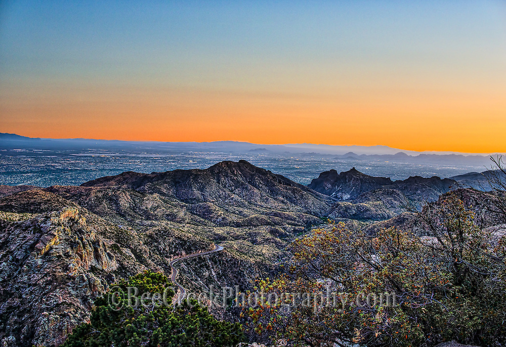 We took this photo from the Santa Catalinas Mountains in Tucson.  These  mountain are a great spot to take in the desert southwest at sunset