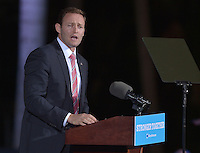 FT LAUDERDALE, FL - NOVEMBER 01: Patrick Murphy, U.S. Representative (D-FL-18) speak before Democratic presidential nominee Hillary Clinton to a crowd of 4,300 supporters during a campaign rally at Reverend Samuel Delevoe Memorial Park on November 1, 2016 in Ft Lauderdale, Florida. The presidential general general election is November 8.  Credit: MPI10 / MediaPunch