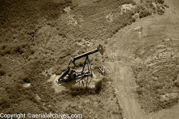 aerial photograph pumpjack oil well southeastern Wyoming