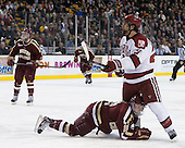 Danny Linell (BC - 10), Marshall Everson (Harvard - 21) - The Boston College Eagles defeated the Harvard University Crimson 4-1 in the opening round of the 2013 Beanpot tournament on Monday, February 4, 2013, at TD Garden in Boston, Massachusetts.