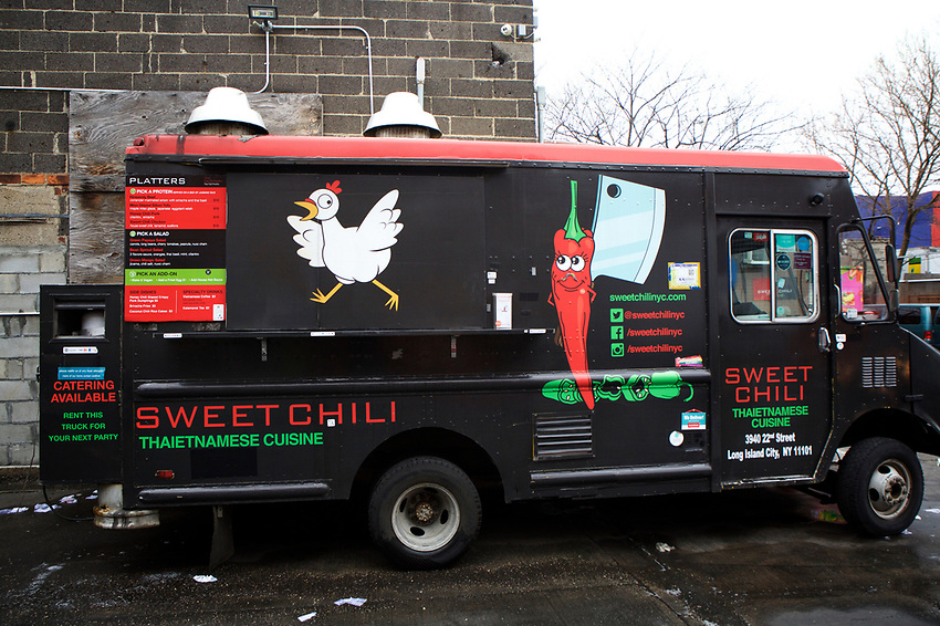 BROOKLYN, NY - April 19, 2017:  Menu items from Sweet Chili, the Southeast Asian-themed truck by chef Lisa Fernandes. <br /> <br /> Credit: Clay Williams.<br /> <br /> &copy; Clay Williams / http://claywilliamsphoto.com