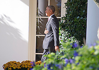 United States President Barack Obama departs the White House in Washington, DC to make campaign stops in Fayetteville and Charlotte, North Carolina for Democratic presidential candidate Hillary Clinton on Friday, November 4, 2016.  He will return late tonight.<br /> Credit: Ron Sachs / CNP /MediaPunch