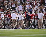 The Ole Miss bench celebrates an interception by Ole Miss defensive back Frank Crawford (5) vs. Central Arkansas at Vaught-Hemingway Stadium in Oxford, Miss. on Saturday, September 1, 2012.