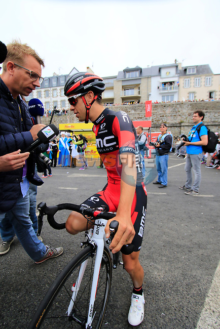 Richie Porte (AUS) BMC Racing Team at sign on before the start of Stage 3 of the 2016 Tour de France, running 223.5km from Granville to Angers, France . 4th July 2016.<br /> Picture: Eoin Clarke   Newsfile<br /> <br /> <br /> All photos usage must carry mandatory copyright credit (&copy; Newsfile   Eoin Clarke)