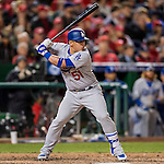 14 October 2016: Los Angeles Dodgers catcher Carlos Ruiz at bat during the NLDS Game 5 against the Washington Nationals at Nationals Park in Washington, DC. The Dodgers edged out the Nationals 4-3, to take Game 5, and the Series, 3 games to 2, moving on to the National League Championship against the Chicago Cubs. Mandatory Credit: Ed Wolfstein Photo *** RAW (NEF) Image File Available ***