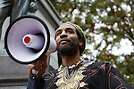Lawrence Greene, founder of Ugata, speaks about the Athens Community perspective of racial discrimination at the #HandsUpWalkOut Rally on October 22, 2014. Photo by Olivia Wallace