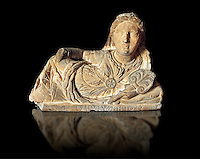 Etruscan sculpted Hellenistic style cinerary, funreary, urn cover with a women ,  National Archaeological Museum Florence, Italy , black background