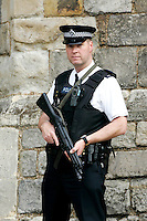 Police armed anti-terrorist security in London, UK