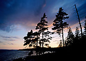 After sunset on the shoreline of Acadia National Park, Maine.