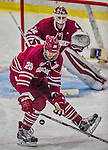 25 November 2014: University of Massachusetts Minutemen Defenseman Oleg Yevenko, a Senior from Minsk, Belarus, blocks a shot in the third period against the University of Vermont Catamounts at Gutterson Fieldhouse in Burlington, Vermont. The Cats defeated the Minutemen 3-1 to sweep the 2-game, home-and-away Hockey East Series. Mandatory Credit: Ed Wolfstein Photo *** RAW (NEF) Image File Available ***