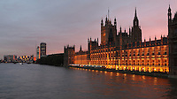 River Thames and the Palace of Westminster, London, UK, or Houses of Parliament, 1840-60, by Sir Charles Barry and Augustus Pugin. The Gothic Perpendicular building replaced its predecessor, destroyed by fire, 1834. The 96.3 metre high clock tower is named after its largest bell, Big Ben. Picture by Manuel Cohen