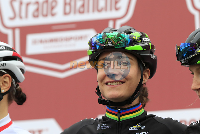 Marianne Vos (NED) WM3 Pro Cycling Team at sign on before the start of the Ladies 2017 Strade Bianche running 127km from Siena to Siena, Tuscany, Italy 4th March 2017.<br /> Picture: Eoin Clarke | Newsfile<br /> <br /> <br /> All photos usage must carry mandatory copyright credit (&copy; Newsfile | Eoin Clarke)