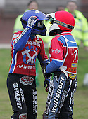 Arena Essex Hammers vs Coventry Bees - Skybet Elite League 'B' - 01/06/05 - Heat 3 - Leigh Lanham (blue) remonstrates with Sergey Darkin (red) after the two Arena riders crashed out. Darkin was excluded and the heat was awarded to Coventry 5-1 - (Gavin Ellis 2005)