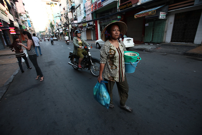 Early morning on Bui Vien Street in Ho Chi Minh City, Vietnam. Aug. 18, 2011.