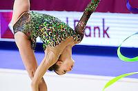 ANNA RIZATDINOVA of Ukraine performs with ribbon at 2016 European Championships at Holon, Israel on June 18, 2016.