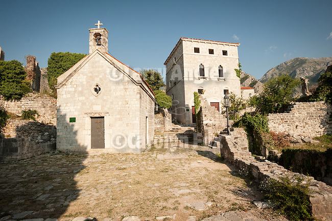 St. John's Church, constructed 1927 (Svete Jovan), Stari Grad Bar, old fort in Bar--founded 500 BC and once a city-state , part of Venice, (1443). In 1571 Turks conquered Bar and ran it until 1870s. On the Adriatic Sea of Montenegro