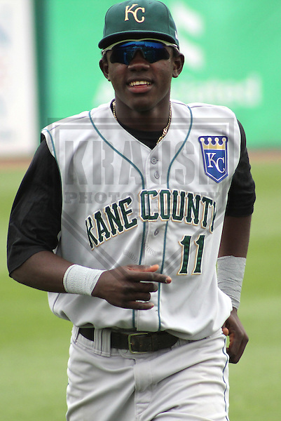 Appleton - JULY 2011: Orlando Calixte (11) of the Kane County Cougars, Class-A affiliate of the Kansas City Royals during a game on July 7, 2011 at Time Warner Cable Field at Fox Cities Stadium in Appleton, Wisconsin. (Photo by Brad Krause).....