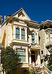 California, San Francisco: Lovely yellow Victorian House, near Laguna and Bush Streets..Photo #: 21-casanf83809.Photo © Lee Foster 2008