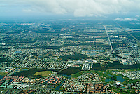 Aerial View,  Commercial Airplane, Clouds, Sky, near Landing, Los Angeles, CA