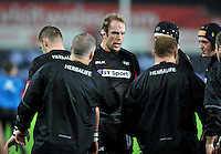 Alun Wyn Jones of the Ospreys looks on during the pre-match warm-up. European Rugby Champions Cup match, between the Ospreys and Bordeaux Begles on December 12, 2015 at the Liberty Stadium in Swansea, Wales. Photo by: Patrick Khachfe / JMP